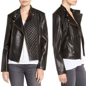 Cole Haan | Black Quilted Leather Moto Jacket